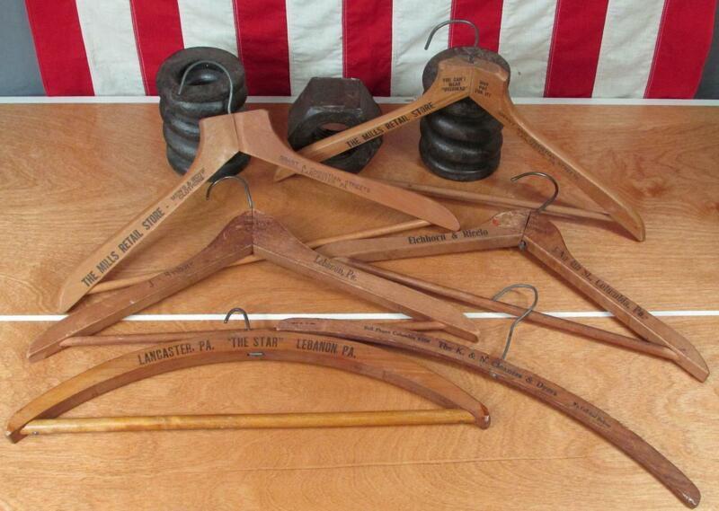 Vintage Antique Wood Clothing Hangers Group 6 Advertising Lancaster Lebanon PA.