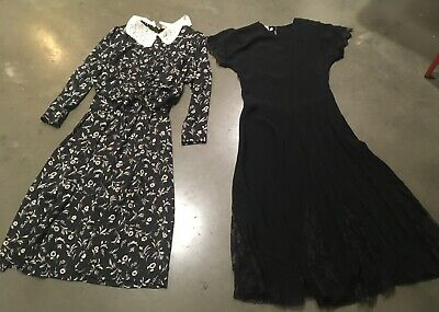 80s Dresses | Casual to Party Dresses Vintage Black Goth Dress Lot 2 Small/Medium $10.00 AT vintagedancer.com