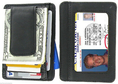 BLACK MAGNETIC Leather MONEY CLIP ID Holder ID Wallet Credit Card Mens FREE SH