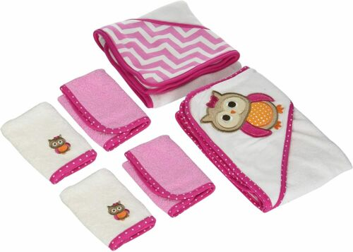 Neat Solutions 2 Hooded Baby Towels and 4 Washcloths Set, Pink Owl