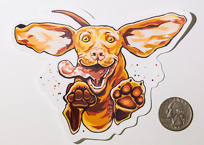 Happy Vizsla decal - custom original artwork on quality weatherproof vinyl gift