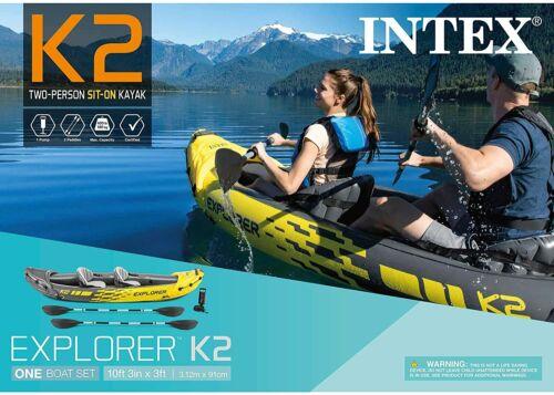 NEW Intex K2 Explorer 2 Person Inflatable Kayak w/ Oars Pump & Bag SHIPS TODAY