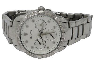 Bulova 96R195 Ladies Maribor Silver Tone Stainless Diamond Accent 36mm Watch