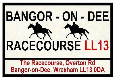 HORSE RACING ROAD SIGNS (BANGOR ON DEE) - FUN SOUVENIR NOVELTY FRIDGE MAGNET NEW