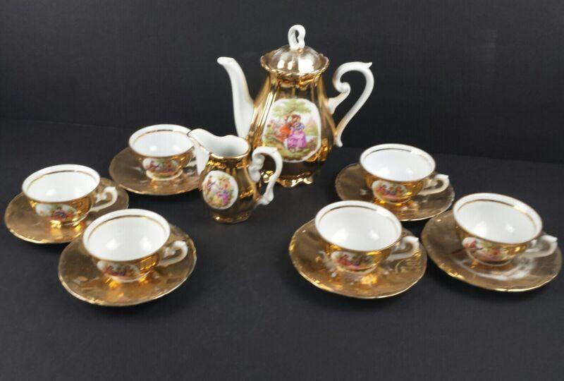 Antique JWK Karlsbad Germany Fine China Porcelain Tea Coffee Set Gilt Gold 17 Pc