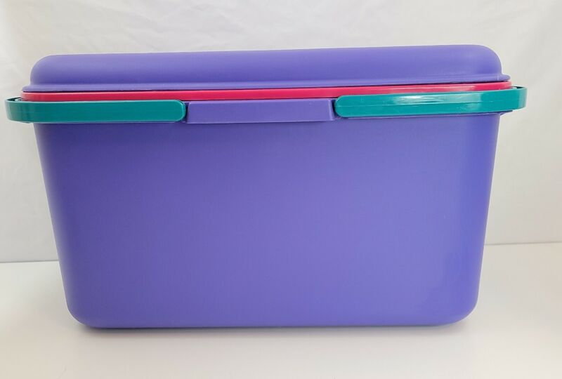 """Eagle Craftstor Sewing Tote Box Scrapbook Craft Bucket 90s Purple Teal Pink 20"""""""