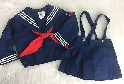12 Months Vintage Sailer Navy Skirt Outfit Nautical Photography Clothes Baby