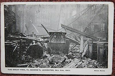 Great Fire at St George's Leicester Oct 5th 1911 Postcard Leicestershire Mason