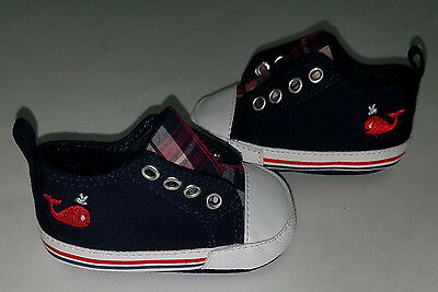 Rising Star Navy Blue Baby Infant Shoes Size 3-6 Months Red Embroidered Whales