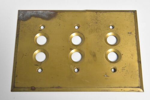 VINTAGE BRASS 3 GANG PUSH BUTTON SWITCH PLATE #4