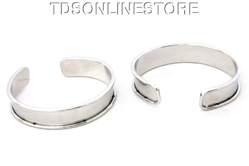 Bright Silver Plated Channeled Bracelet Cuff Blanks 1/2 Inch Pkg Of 2