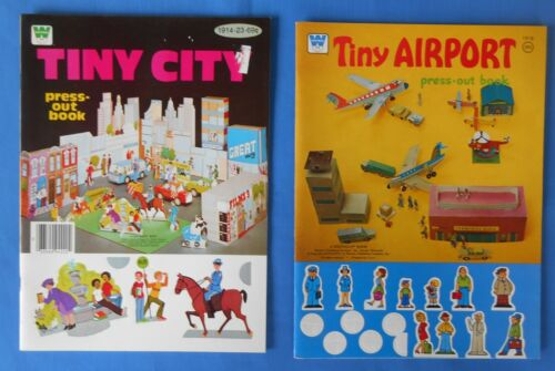 2 Vintage 1974, 1980 Whitman Tiny Airport, Tiny City  Press out Books  Unused