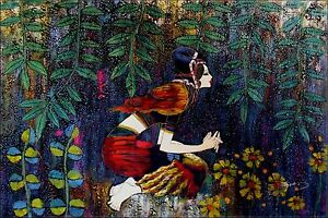 Stretched-Kneeled-Young-Lady-Praying-Hand-Painted-Oil-Painting-24x36in