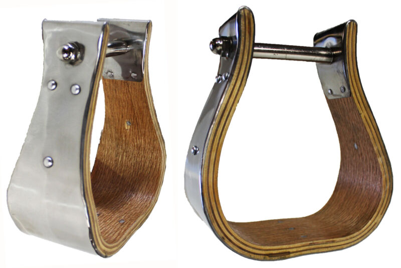 """Horse Saddle Western SS Covered Wooden BELL STIRRUPS 3"""" Tread 51124"""