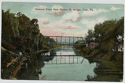 York Pa Codorus Creek From Market Street Bridge Old Vintage Postcard