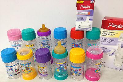 1Vintage Playtex Nurser Drop In Bottles Decorated 8 and 4 oz no nipples boy girl
