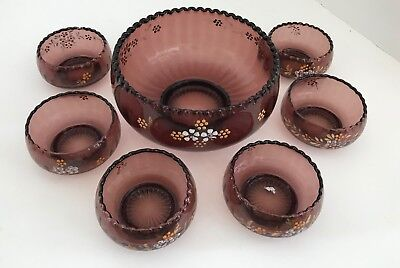 Vintage Victorian Northwood Amethyst Glass Berry Bowl Set Enameled Flowers