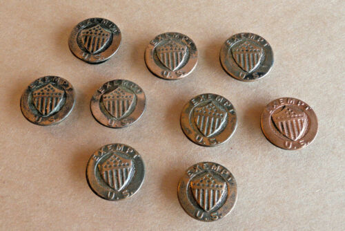 Lot of 9  EXEMPT U.S. MILITARY World War I Lapel Cuff Buttons ~ Whitehead & Hoag