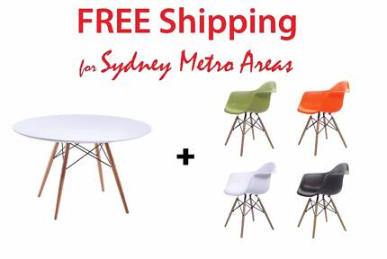 COMBO SALE - Eames Dining Table 120cm & Eames DAW Chair x 4