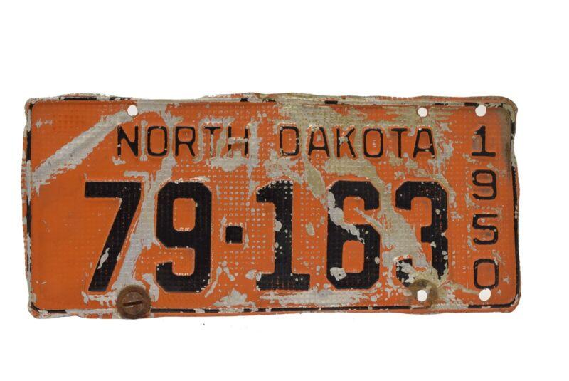 1950 North Dakota License Plate 79 163