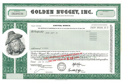Golden Nugget > Las Vegas Nevada casino stock certificate Steve Wynn letter