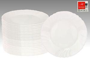 24er Set Essteller flach Ebro 25cm Hartglas Speiseteller weiß Geschirr Teller