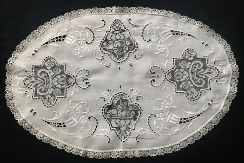 """Antique Oval Hand Made Doily Darning on Net Insertions Embroidery 21 1/2"""" x 13"""