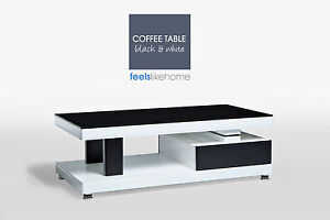 Black & White High Gloss Coffee Table with Glass Top - Modern Designer Look