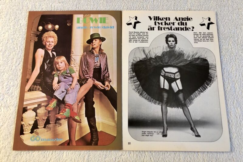 DAVID & ANGIE BOWIE 1974 Clipping Swedish Poster Magazine GO 1970s Rare Vintage