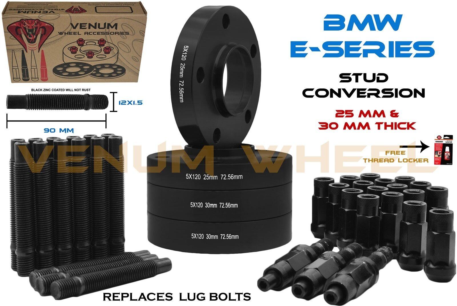 10 X M12X1.5 BLACK ALLOY WHEEL STUDS CONVERSION STUDS 90mm FITS BMW 72.6 2
