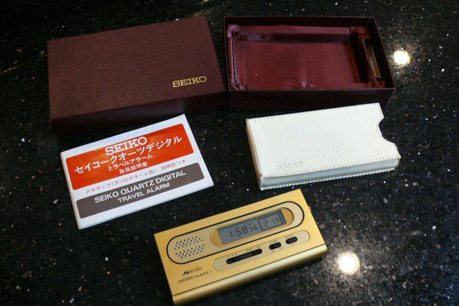 Vintage Seiko Digital Musical Alarm Clock Gold Plated  New i