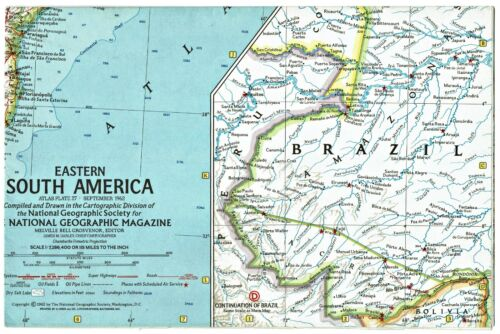 ⫸ 1962-9 September Vintage EASTERN SOUTH AMERICA National Geographic Map A1
