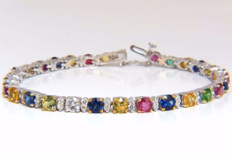 11.62ct natural tsavorite emerald sapphires diamond tennis bracelet 14kt +colors