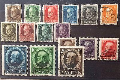 Bayern gestempelt Mi.Nr. 94 bis 109 I König Ludwig 1914
