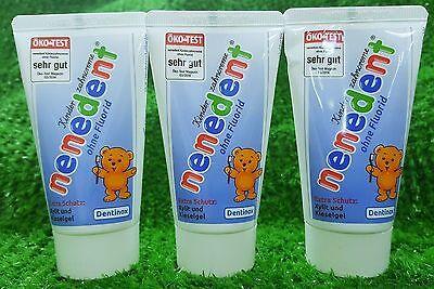 6,60€/100ml) 3x NENEDENT Kinderzahncreme OHNE Fluorid Kinder- Zahnpasta (3x50ml)