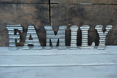 Corrugated Metal ~ FAMILY ~ Industrial LETTER Photo Collage Sign WALL Home DECOR