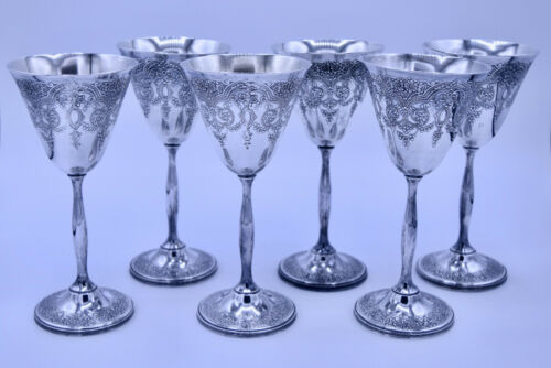 6 Wilcox International Silverplate Wine Goblet Set Paisley M