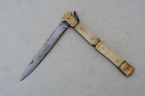 Rare Vtg Nice collectible large European French folding bowie Hunting knife
