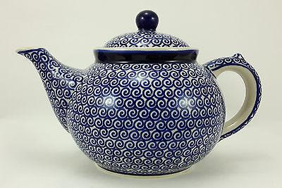 Bunzlauer Keramik Teekanne, Kanne für 1,3Liter Tee, blaue Kringel (C017-63)