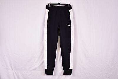 Women's Puma French Terry Contrast Track Pants Jogger Sweatpants, Black & -