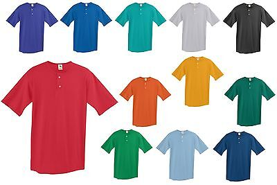 MEN'S POLY/COTTON JERSEY, 2 BUTTON PLACKET, SHORT SLEEVE, HENLEY T-SHIRT, XS-4XL