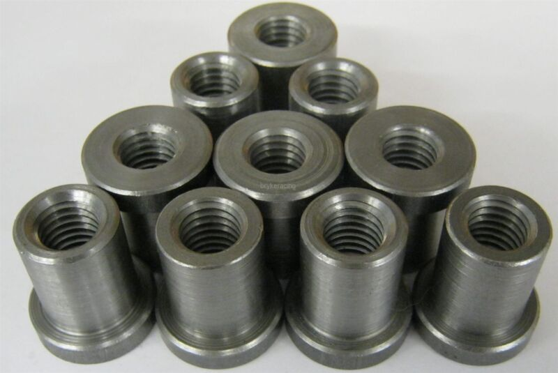 """Weld on Nuts 3/8""""-16 Thread LONG Threaded Nut Steel Chassis Mount Tab Pack of 10"""