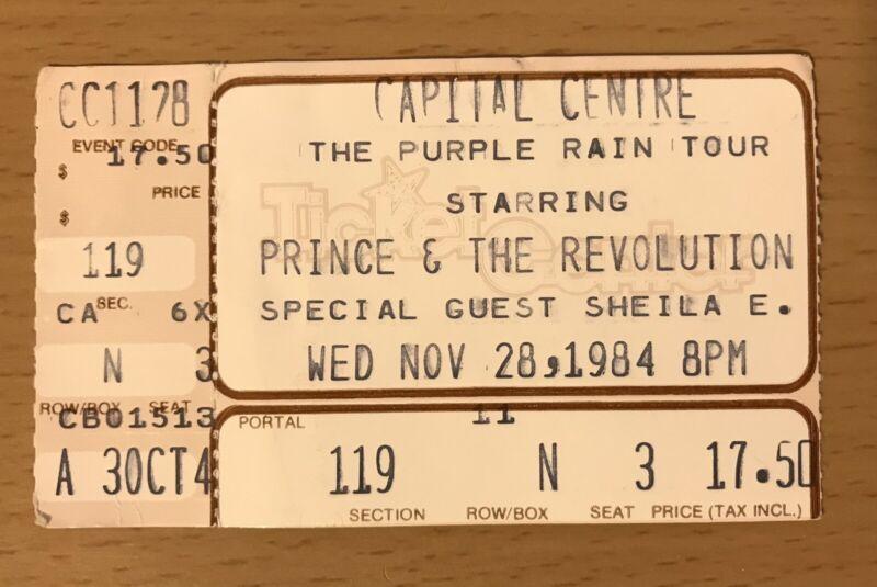 1984 PRINCE & THE REVOLUTION PURPLE RAIN TOUR WASHINGTON CONCERT TICKET STUB N3