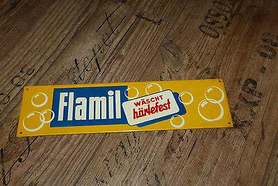 Original Flamil Blechschild wäscht härtefest Dachbodenfund aus Kramerladen