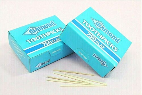 TWO BOXES 1500 Wood Flat Diamond Toothpicks, Party Supply, Oral Care, Craft Tool