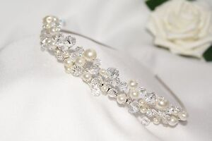 Handmade Bridal Prom Clear & AB Crystals with Ivory Pearls Silver Tiara headband