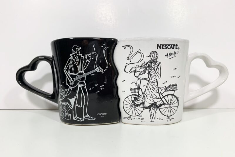 Rare Nescafe Nestle 2007 Kissing Coffee Mugs Limited Edition