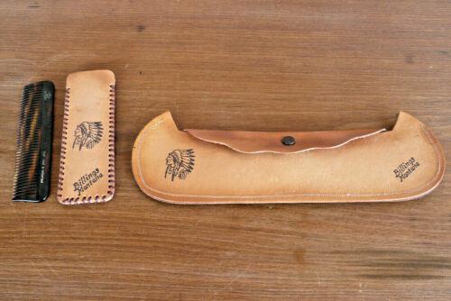 Vtg Leather Canoe & Comb Case Billings Montana Souvenir American Indian Chief