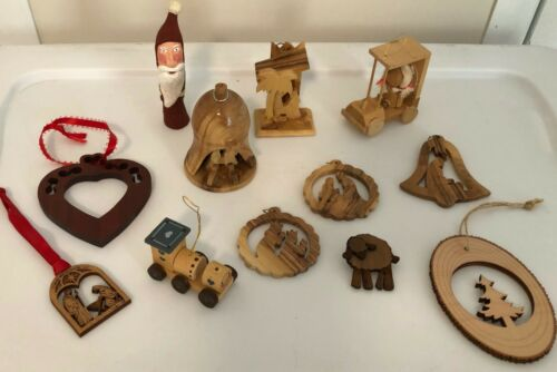 VINTAGE  MINIATURE HANDCRAFTED  WOODEN  CHRISTMAS  ORNAMENTS  ~ LOT OF 12