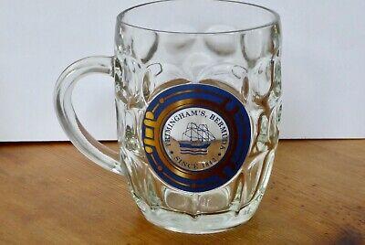 Set Of Two Vtg. Ravenshead Dimpled Glass Mugs Trimingham's Bermuda